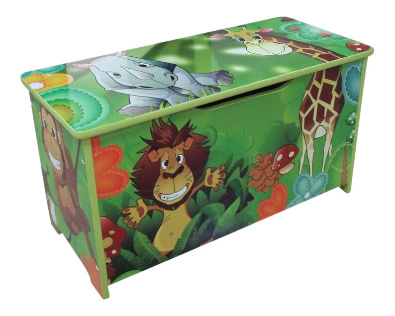 Jungle Green Kids Childrens Wooden Toy Box Bench Storage Box Brand New Ebay