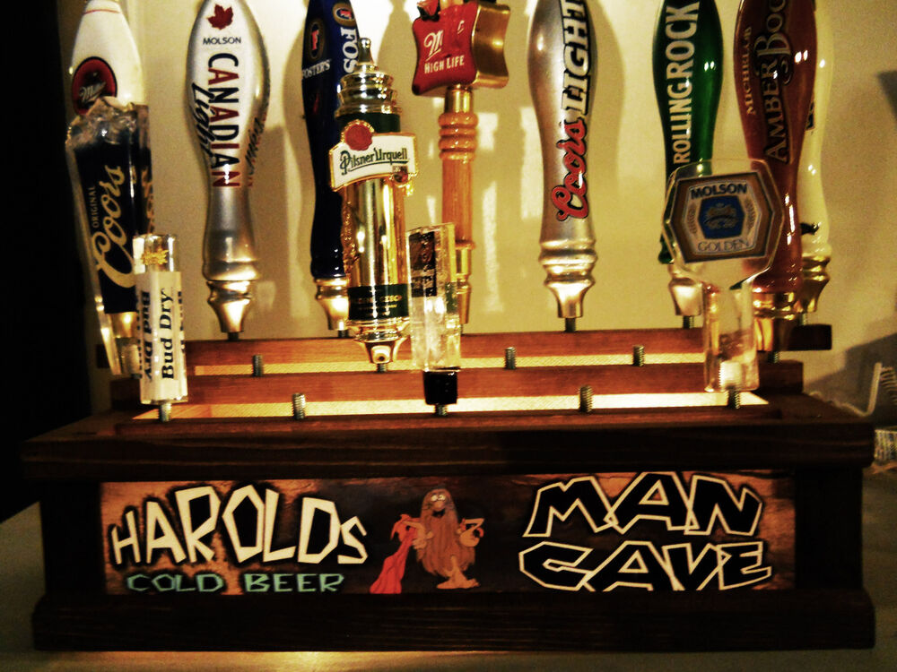 Personalized Man Cave Lighted 18 Beer Tap Handle Display