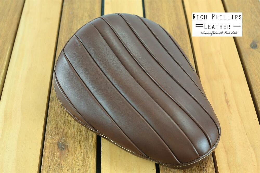 Brown tuck and roll rich phillips leather chopper motorcycle seat