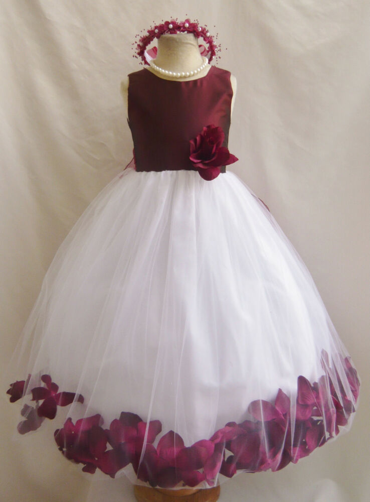 Burgundy wine christmas pageant party flower girl dress 18 24m 2 4 6 8