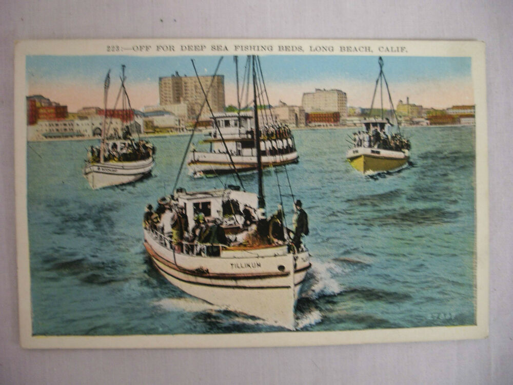Vintage postcard deep sea fishing boats long beach for Long beach fishing boat