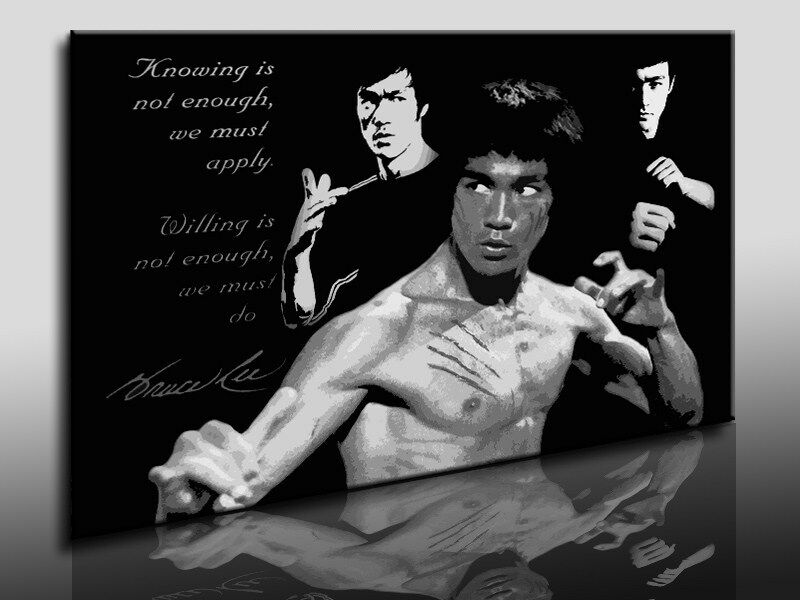 bild auf leinwand bruce lee kunstdruck wandbilder. Black Bedroom Furniture Sets. Home Design Ideas