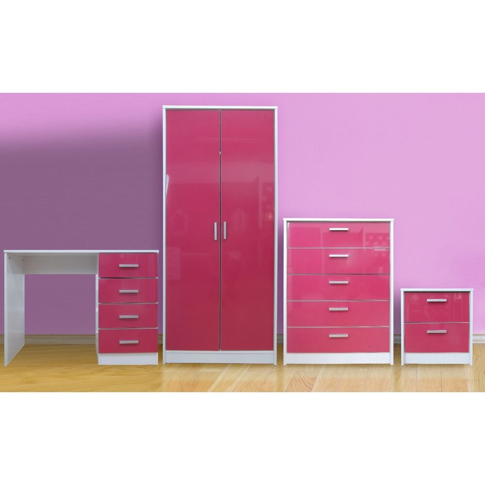 high gloss bedroom furniture set wardrobe chest bedside desk dressing