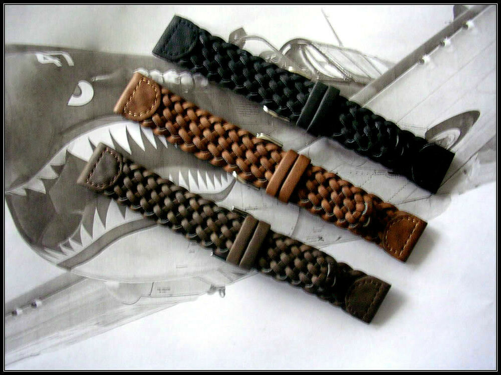 16mm Brown Hand Braided Military woven Leather watch band