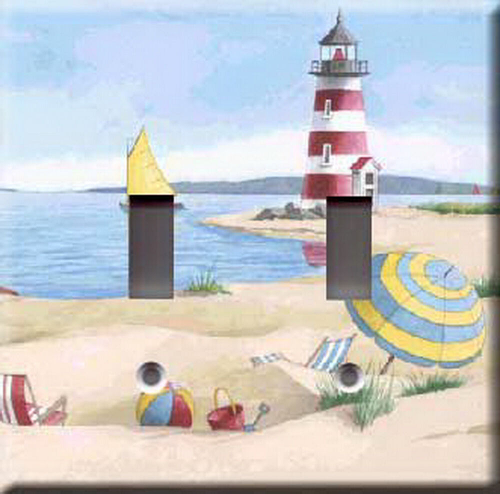 Red lighthouse double light switch plate cover ebay for Lighthouse switch plates
