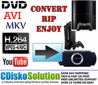 DVD to Xbox 360/ONE PS3 PS4 PSP HD Video Converter AVI MPEG-4 VOB FREE UK POST
