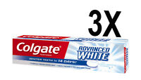 3 X COLGATE ADVANCED WHITE 100ml TOOTHPASTE  WITH MICRO CLEANSING CRYSTALS