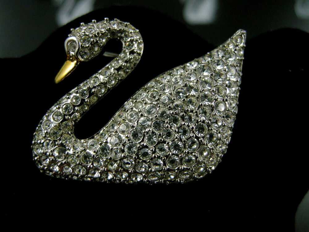 Signed Swarovski Pave Crystal Swan Pin Brooch Retired