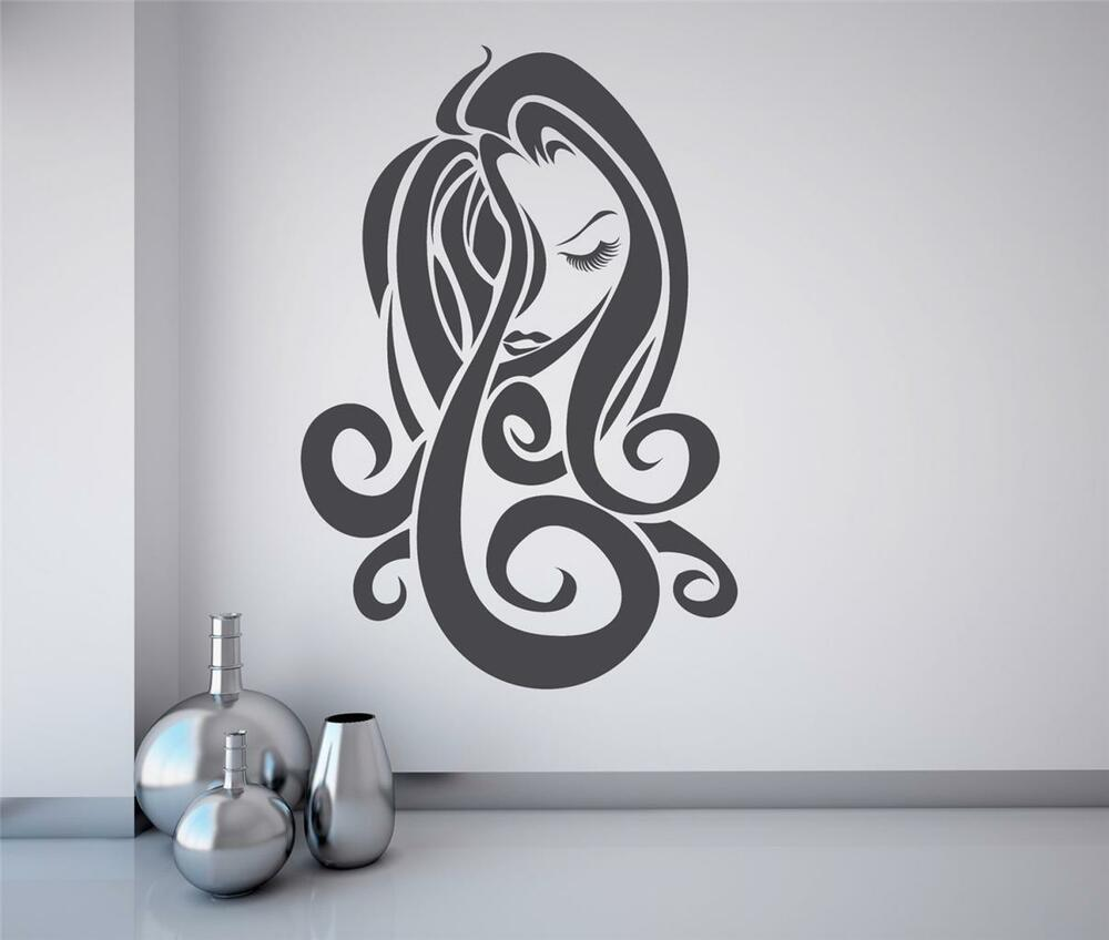 Wall art sticker decal vinyl hair salon girl fashion for Spa wall decor