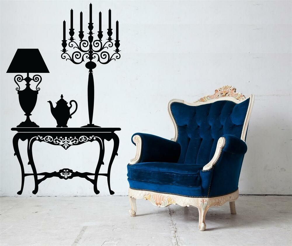 Wall art sticker decal vinyl vintage antique table for Stickers decorativos