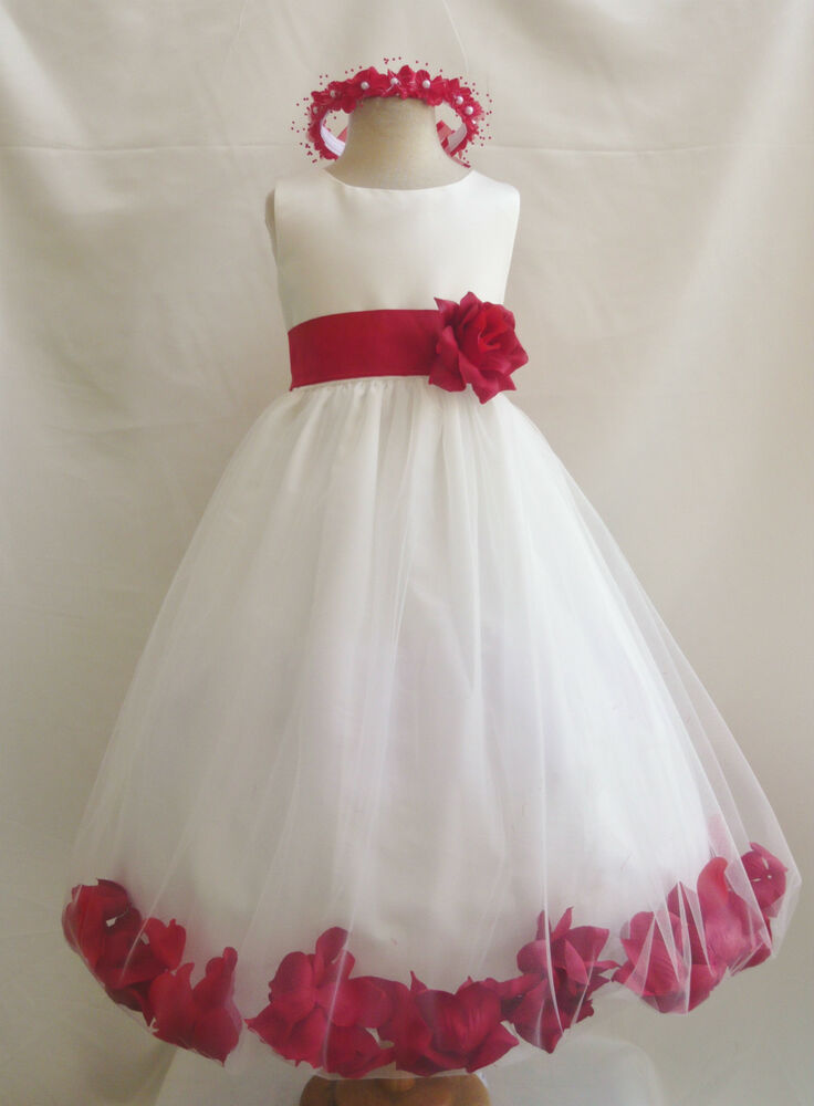 Ivory red christmas pageant flower girl dresses 6 12 18 24 mo 2 4 6 8