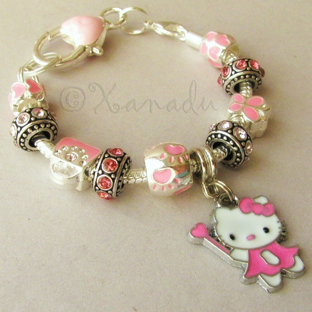 pink hello kitty fairy princess european charm bracelet
