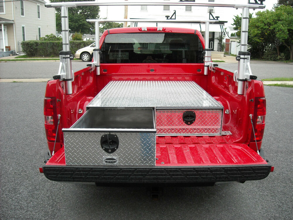 New aluminum truck bed 2 drawer tool storage box 95x48x10 11 16 u s a made ebay - Truck bed box drawers ...