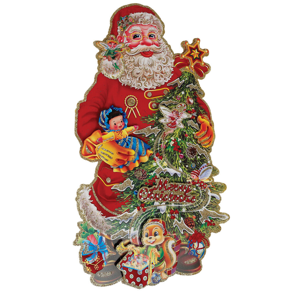 Liamaria Christmas Tree Wall Decoration : Dotcomgift santa tree christmas decoration card