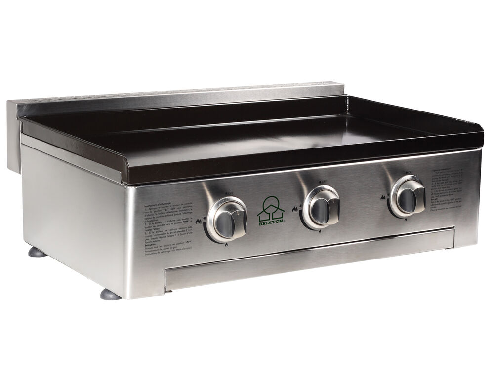 Gas plancha bbq 3 burner bbq grill stainless steel enameled cast plate ebay - All stainless steel grill ...