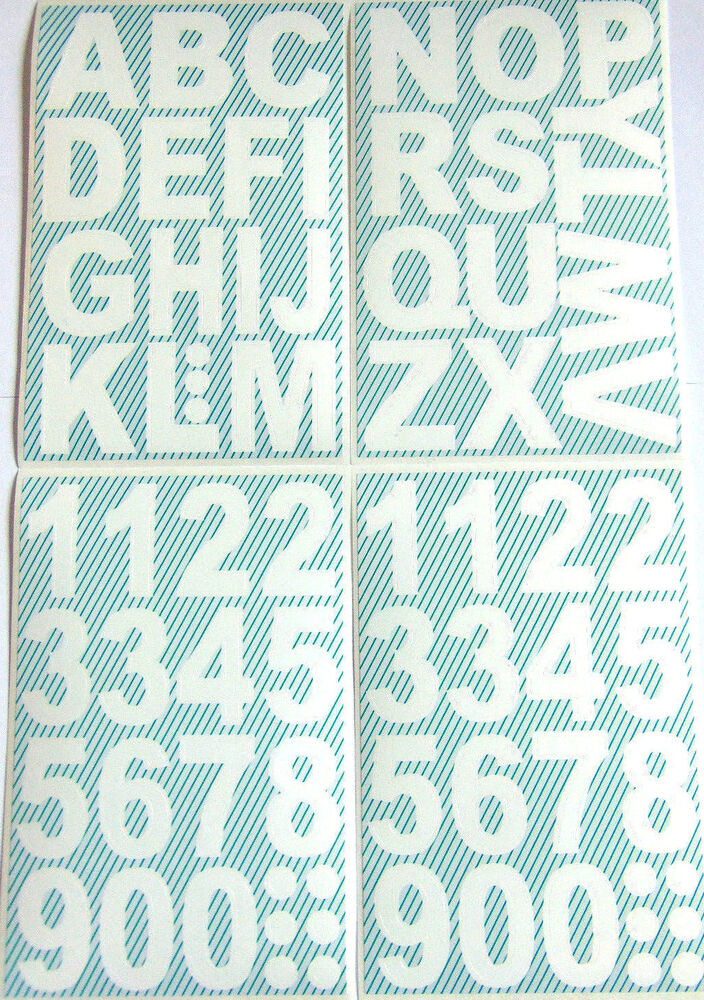 24mm white sticky vinyl letters or numbers stickers self for Self adhesive house numbers and letters