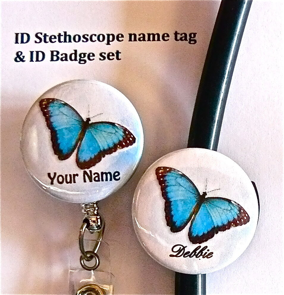 Name Tag Master Post: FAB. BUTTERFLY ID STETHOSCOPE NAME TAG SET, NURSE, DOCTOR