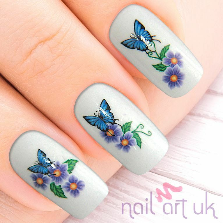Manicure Nail Art: Purple Butterfly Flower Water Decal Nail Stickers Transfer