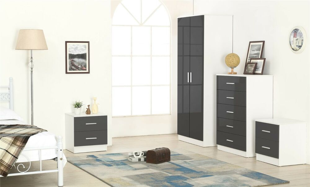 New High Gloss Black White 4 Piece Bedroom Set With 2
