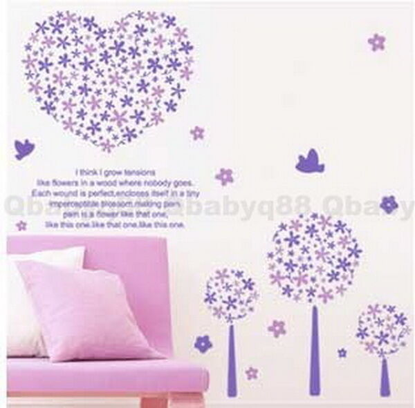 Purple Romantic Big Flower Wall Stickers Home Decor: Purple Flower Tree Wall Decals Removable Stickers Decor
