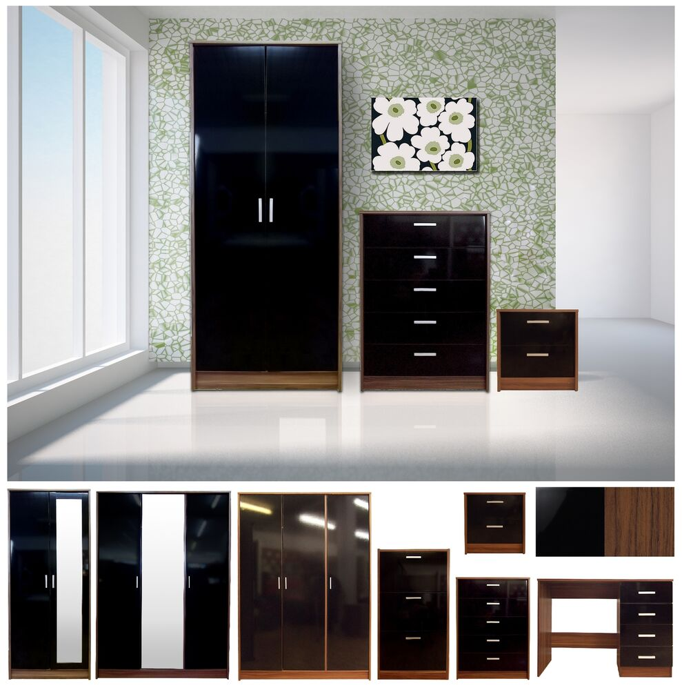 high gloss bedroom furniture set 2 3 door wardrobe chest bedside desk