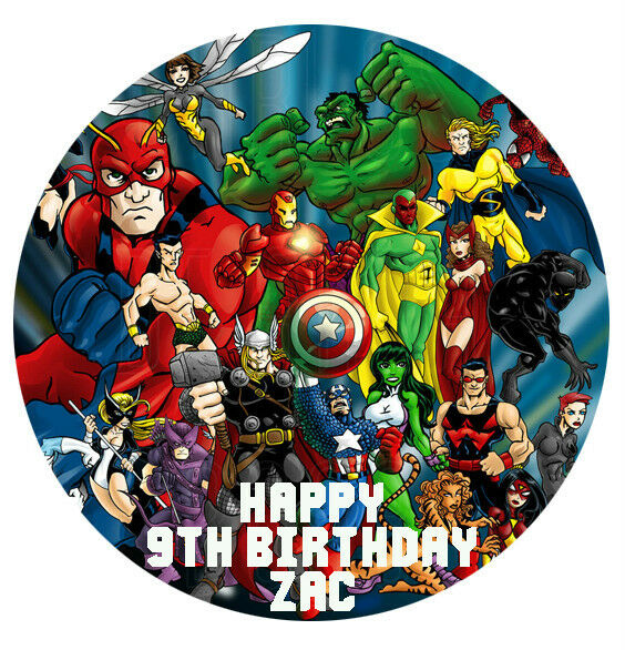 superhero cake toppers 1 x 19cm personalised cake topper 7842