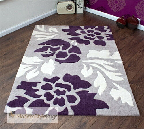 Grey purple and cream modern new luxury rug 2 sizes ebay for Plum and cream rug