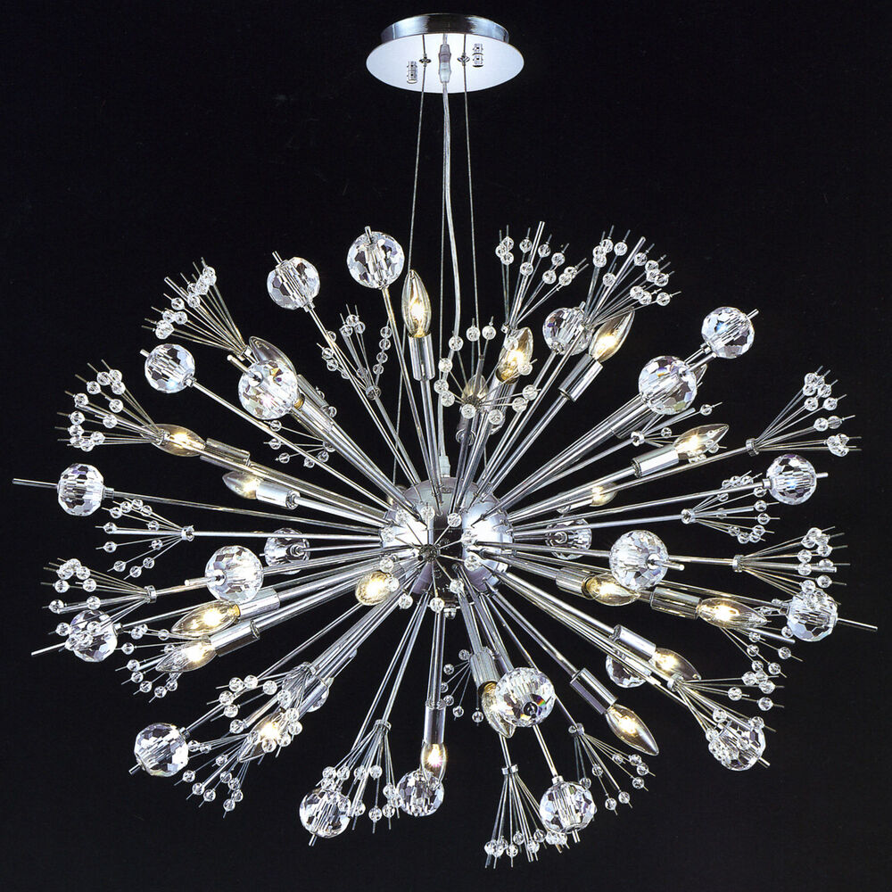 crystal chrome sputnik style 24 light chandelier. Black Bedroom Furniture Sets. Home Design Ideas
