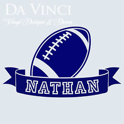 Personalized Boy Name American Football Ball Vinyl Sticker Wall Decal Decoration