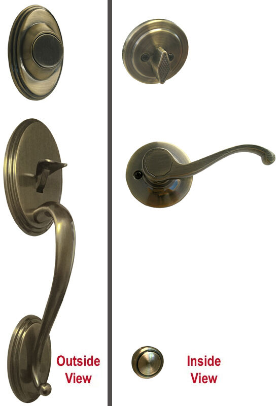 Lever Handle Lock : Antique brass dummy handleset for front door lever handle