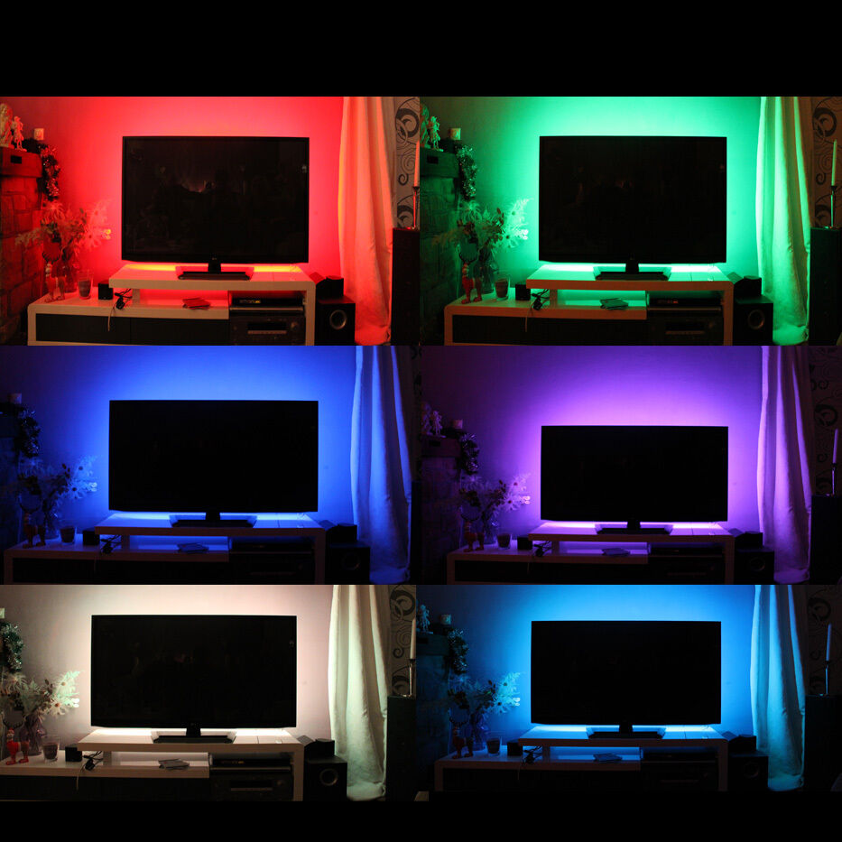 tv hintergrundbeleuchtung led leiste strip multicolor rgb nach zoll ebay. Black Bedroom Furniture Sets. Home Design Ideas
