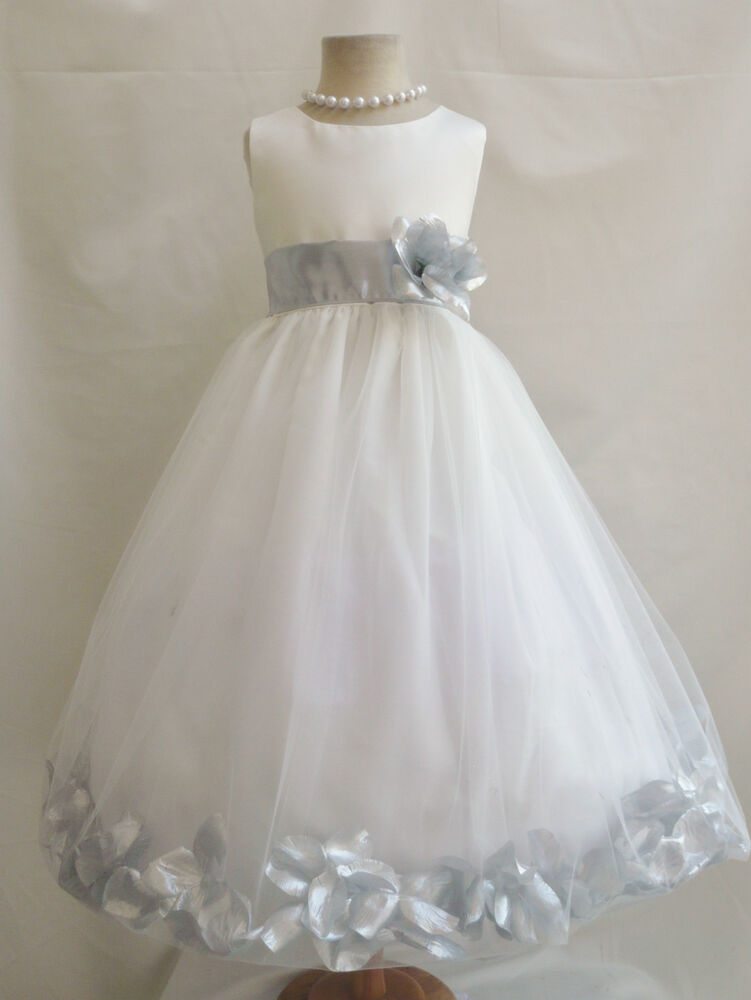 Ivory silver gray toddler infant bridal pageant party for Flower girls wedding dress