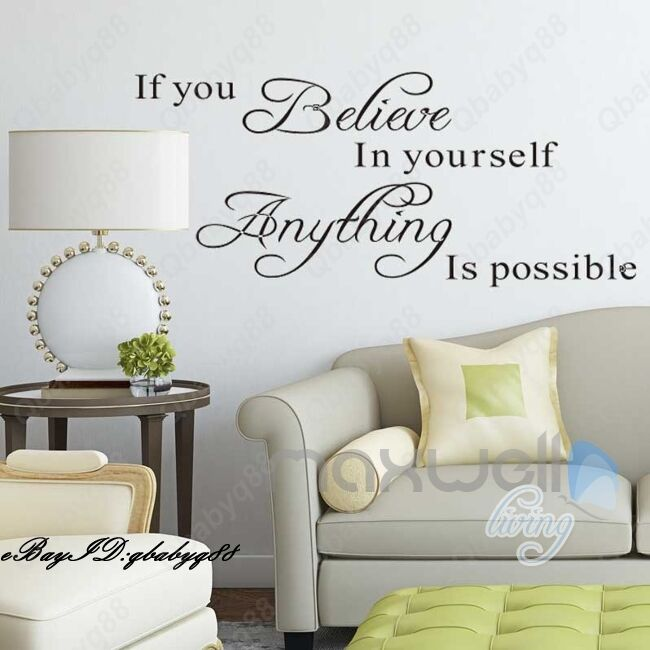 Anything is possible Wall Quotes decals Removable stickers decor Vinyl home art  eBay