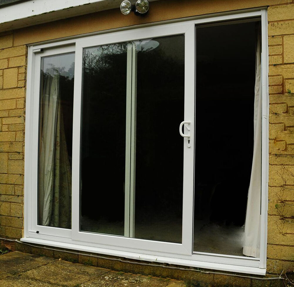Upvc patio doors white sliding door made to measure for Wide sliding patio doors