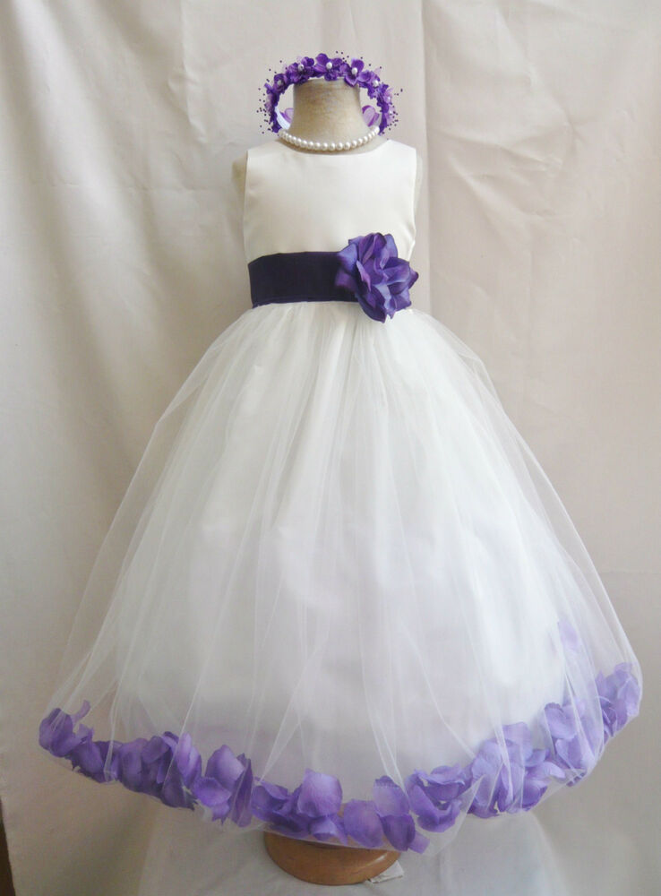 Ivory eggplant purple rose petal wedding party pageant for Purple and ivory wedding dress