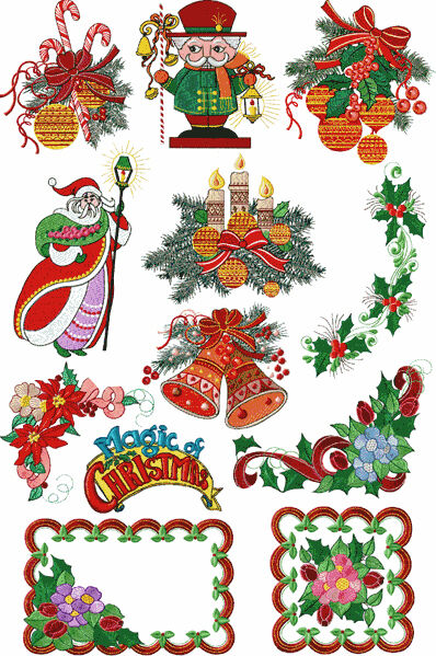 Abc designs magic of christmas 12 machine embroidery for Embroidery office design version 7 5