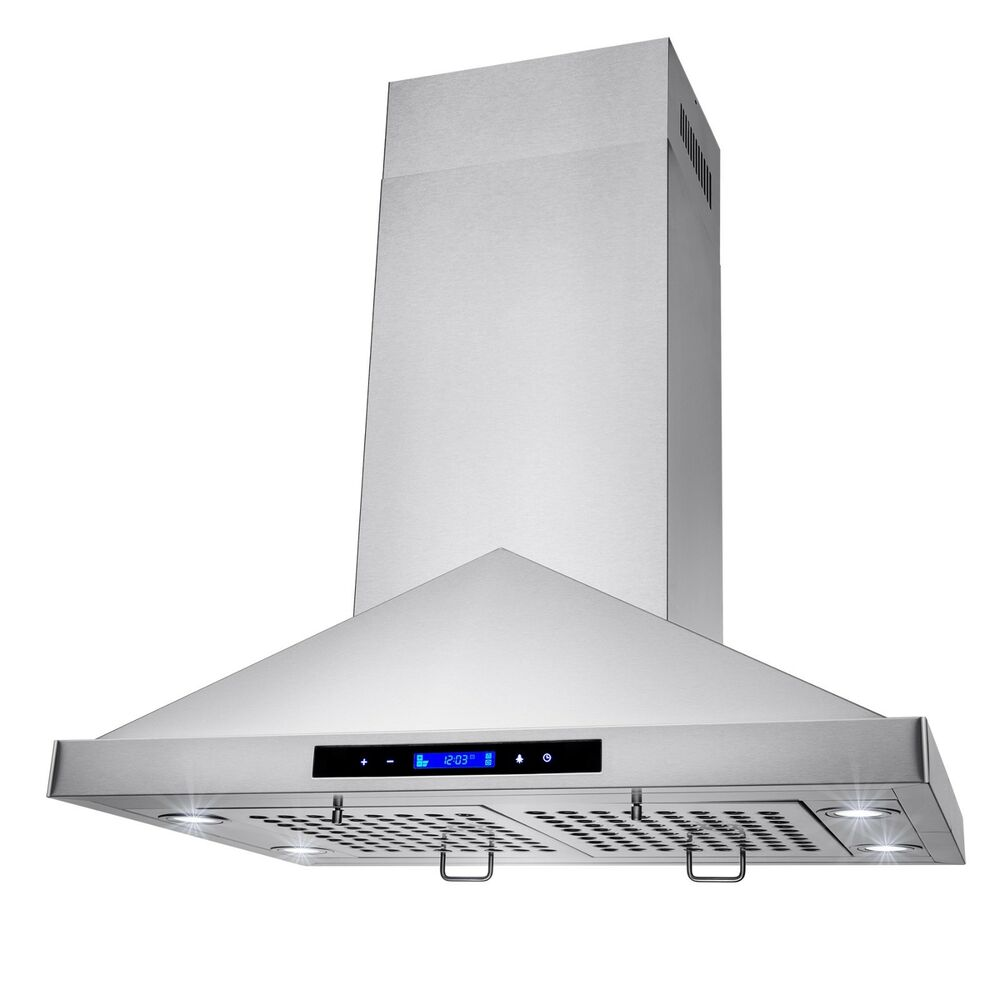 "30"" Island Mount Stainless Steel Kitchen Range Hood Vent"