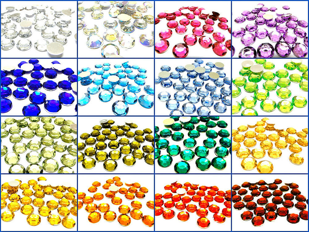 Acrylic gems rhinestones faceted round flatback coloured for Plastic gems for crafts