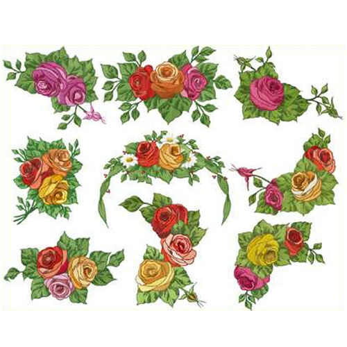 Abc designs 9 romantic roses machine embroidery designs for Embroidery office design version 7 5