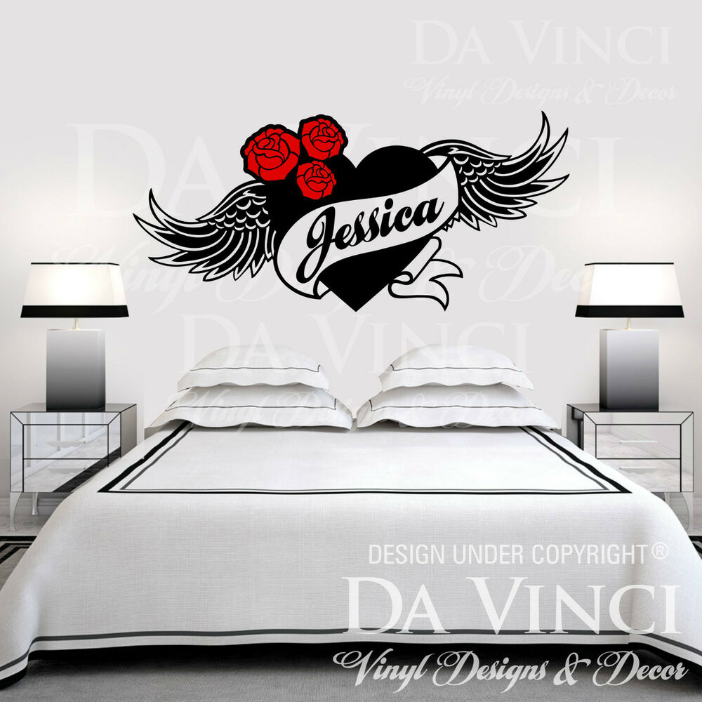 personalized heart flower roses wings angel custom name. Black Bedroom Furniture Sets. Home Design Ideas