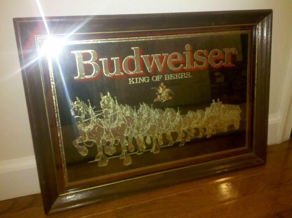 Vintage Budweiser Mirror With Clydesdales Ebay