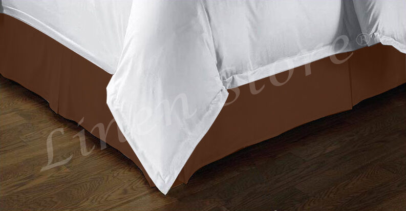 Tailored Bed Skirt Dust Ruffle Pleated 14 Quot Drop Brown