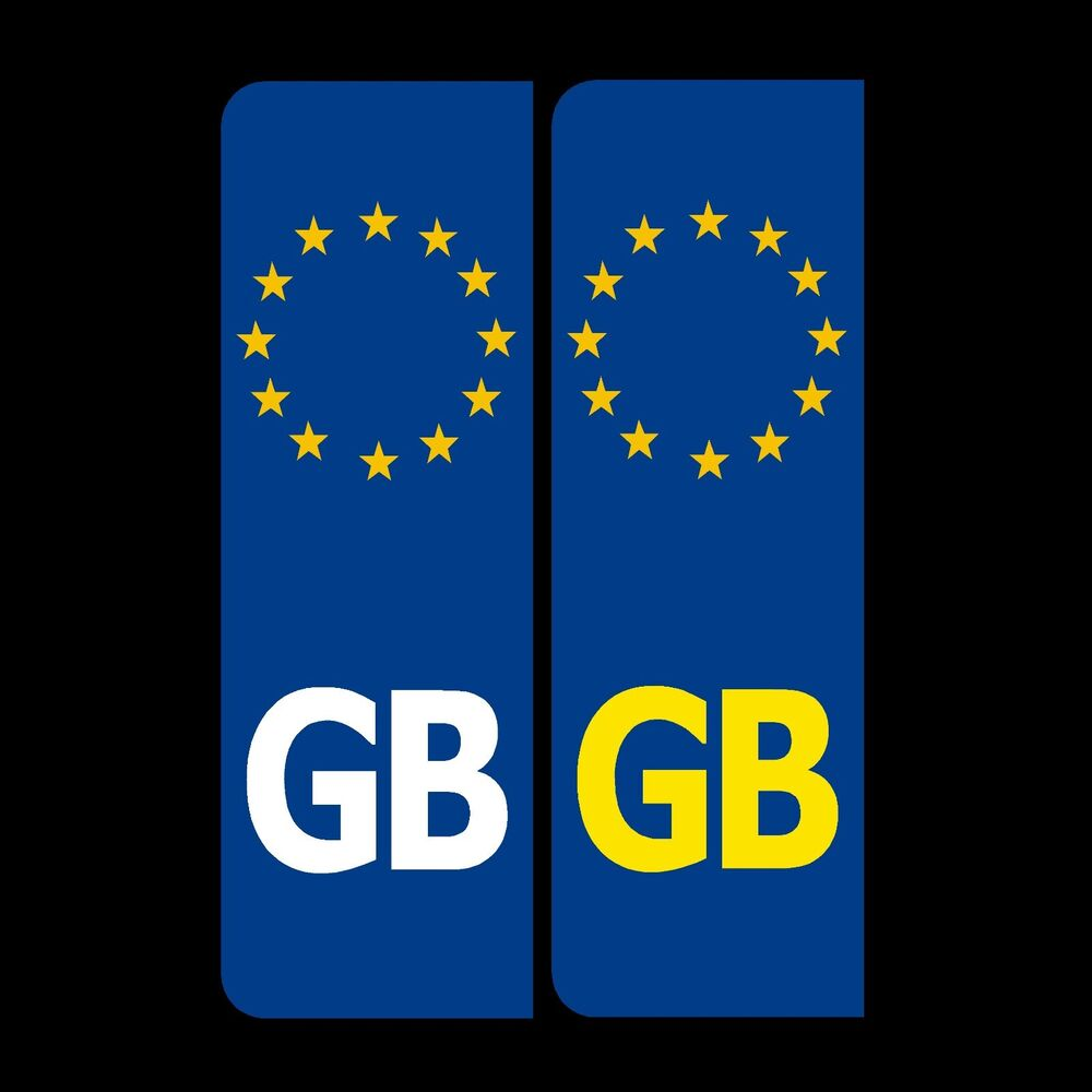2 X Gb Euro Number Plate Stickers Eu European Road Legal