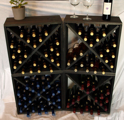 Wine Rack Cubes Pine With Black Stain Collection Wine
