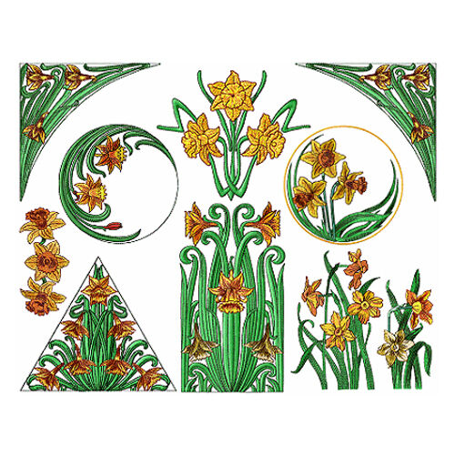 Abc designs 10 daffodils machine embroidery designs set for Embroidery office design version 7 5