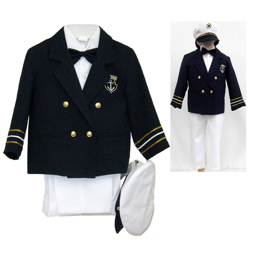 Navy Baby Boy Toddler Costume Nautical Captain Sailor Suit
