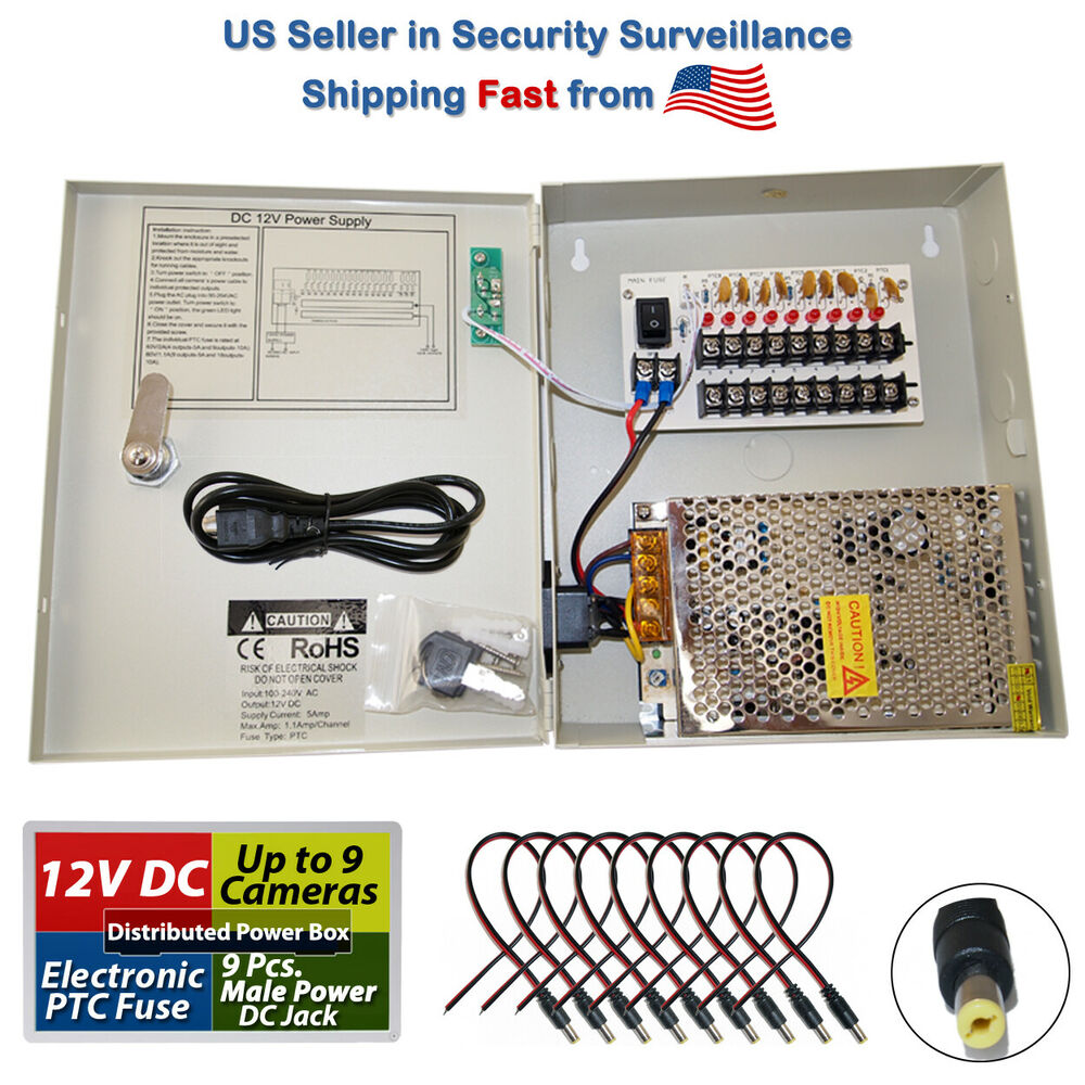 8 ch channel power supply box cctv camera 9 port 12v