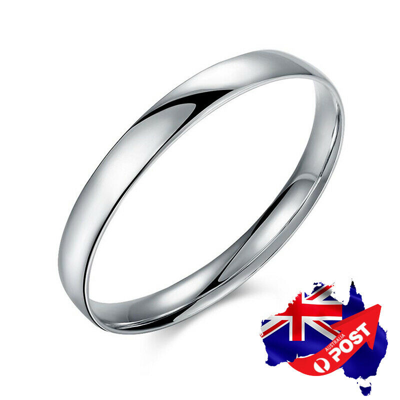Bangle Charm Bracelet Silver: 925 Sterling Silver Layered Classic 10MM Solid Plain Band