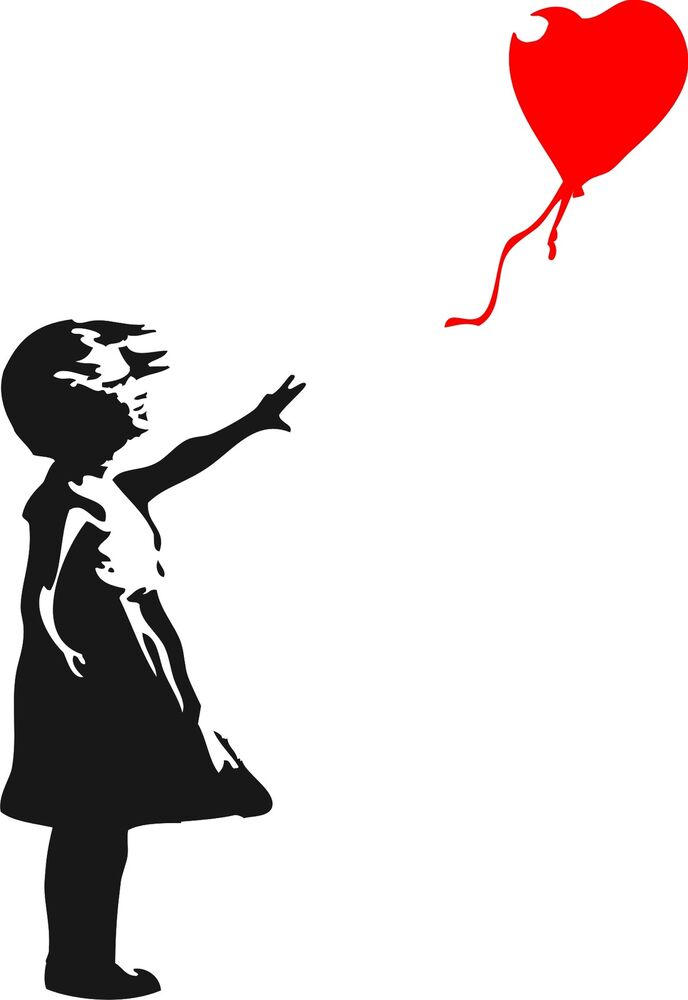 banksy childhood girl with balloon xlarge vinyl wall art. Black Bedroom Furniture Sets. Home Design Ideas