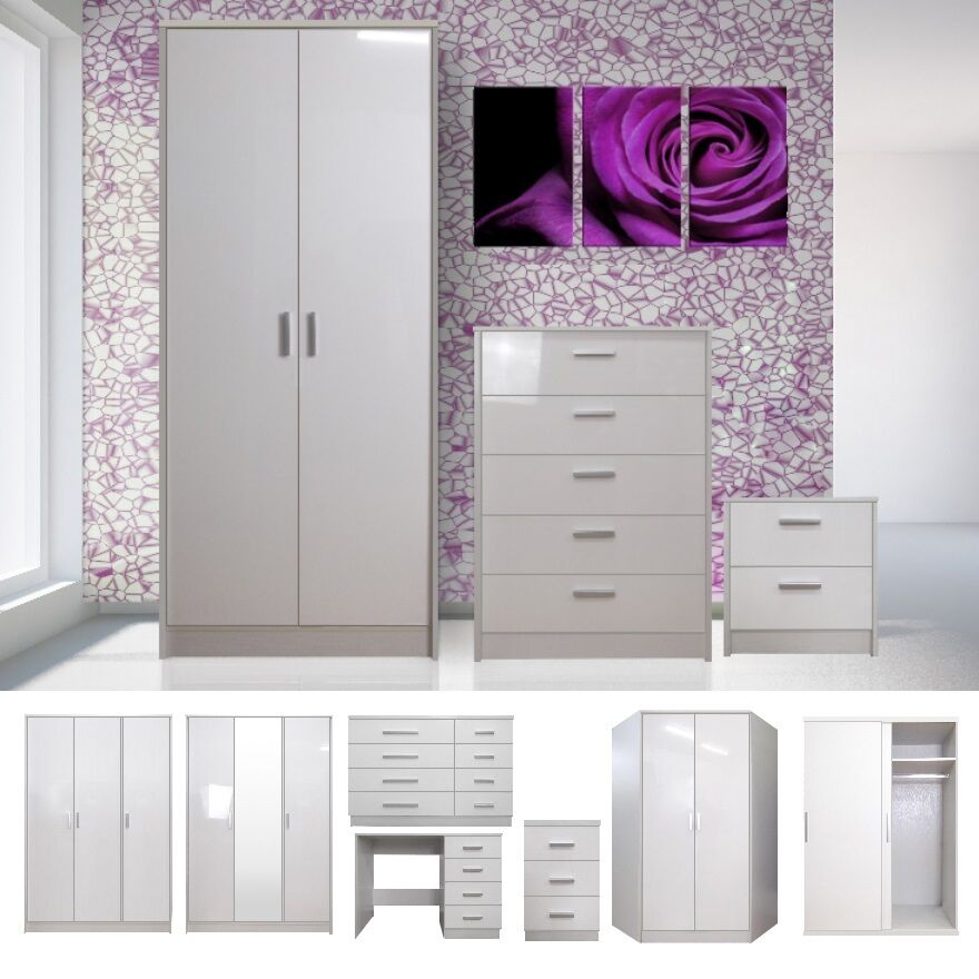 White high gloss bedroom furniture set wardrobe chest for White gloss bedroom furniture